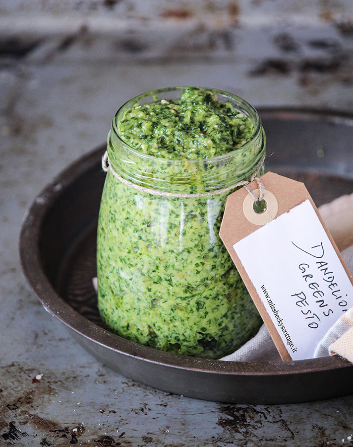 dandelion greens pesto with peanuts